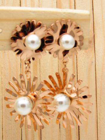 aretes rosado perlas blanco