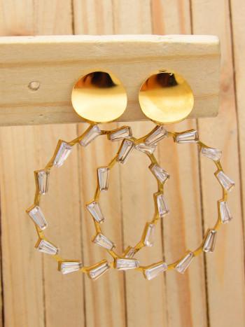 aretes dorado zircones blanco