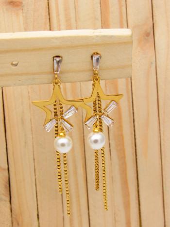 aretes dorado zircones|perlas blanco