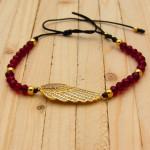 pulsera dorado zircones|cristales rojo