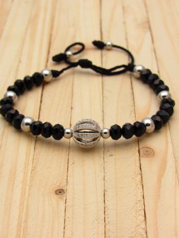 pulsera plateado zircones|cristales negro