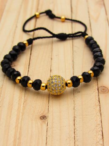 pulsera dorado zircones|cristales negro