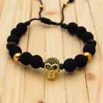 pulseras dorado zircones|cristales negro hombre