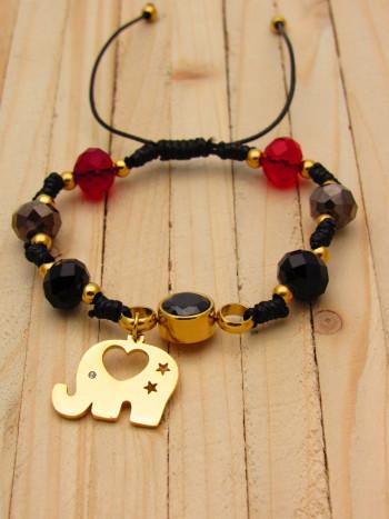 pulseras dorado zircones|cristales negro