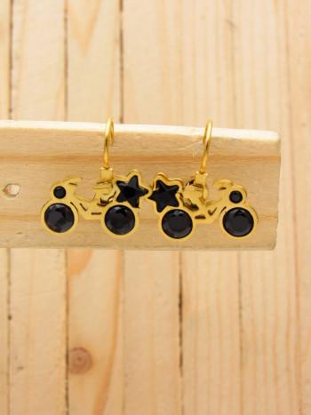 aretes dorado zircones negro