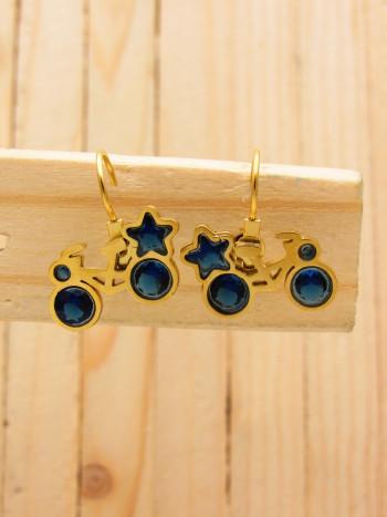 aretes dorado zircones azul