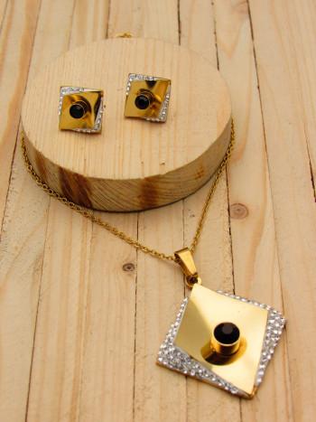 juegos dorado resina|zircones blanco|negro