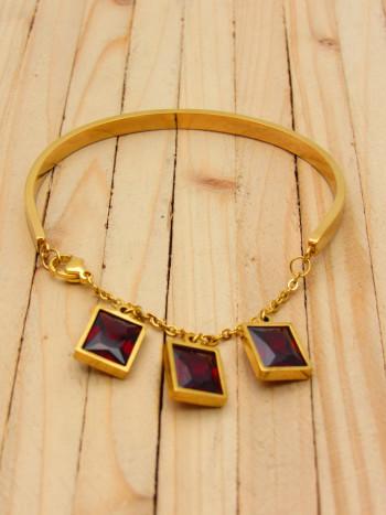pulseras dorado zircones rojo