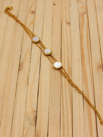 pulseras dorado nacar blanco