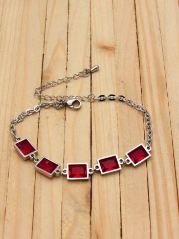 pulseras plateados zircones rojo