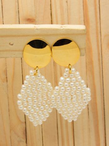 aretes dorados perlas