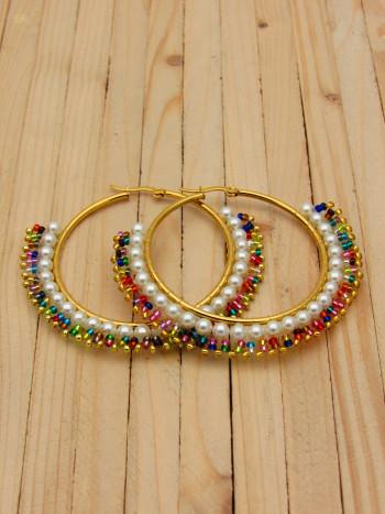 candonga dorada 50mm cristales perlas tuty
