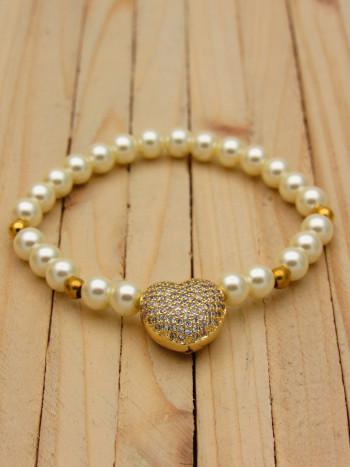 pulsera dorado perlas