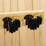 aretes dorado cristales negro   SKU3627