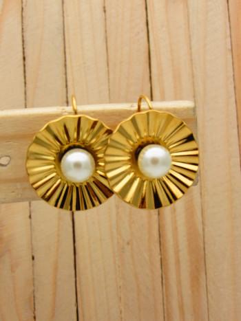 aretes dorado perlas    SKU3637