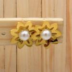 aretes dorado perlas    SKU3640