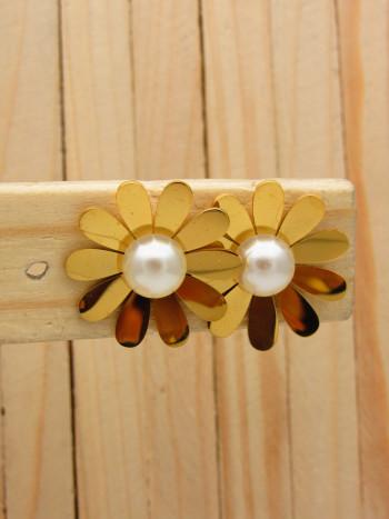 aretes dorado perlas    SKU3646