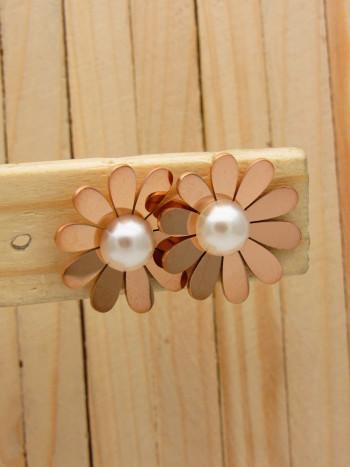 aretes rosado perlas    SKU3647
