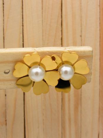 aretes dorado perlas    SKU3649