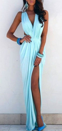elda maxi dress in pastel blue