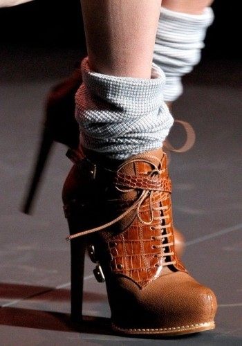 chocolate high heeled boots