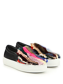 joshua sanders multicolor mink and leather slip on sneakers