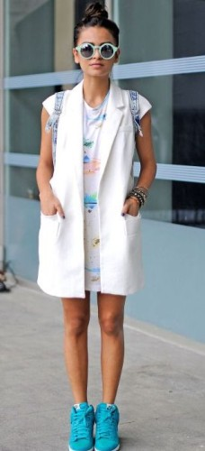 long vest with sneakers
