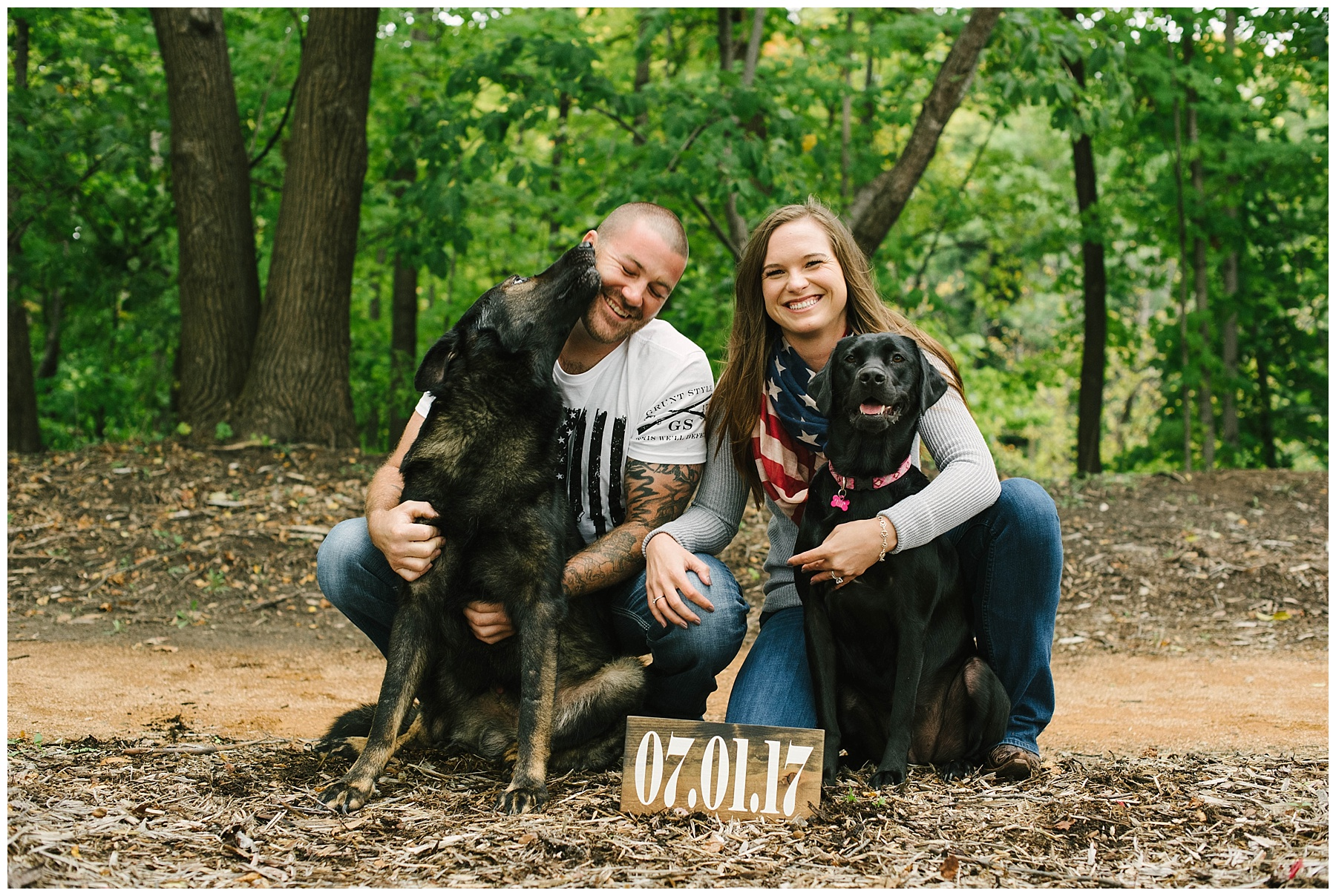 mn engagement session with dogs