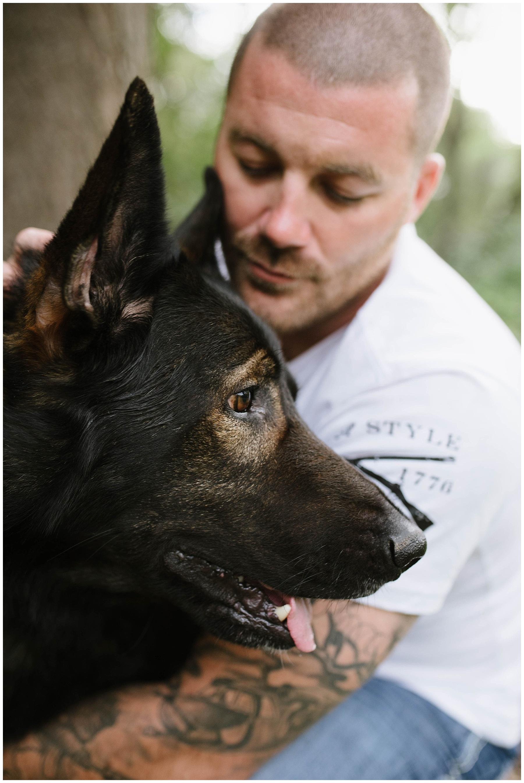 portrait with german shepherd