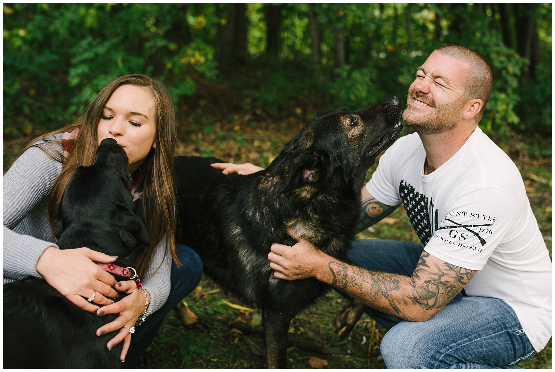 engagement session with dogs mn