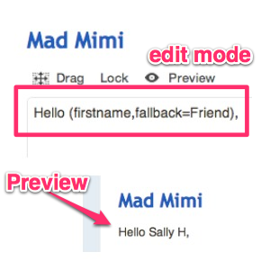 personalisation, or mail merge tag in action