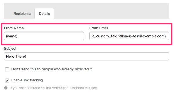 """here's an example of a personalization, or mail merge tag to personalise the """"from address"""""""