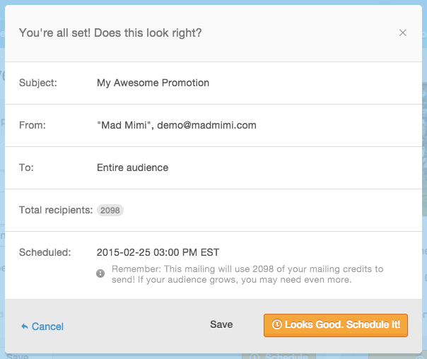 Mad Mimi confirmation page when finished scheduling a mailing.
