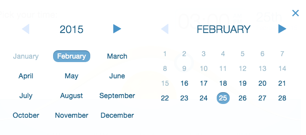 select year, month, and date for future scheduled mailing in Mad Mimi