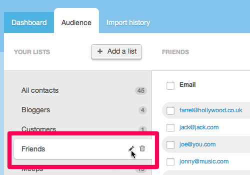 rename an email list