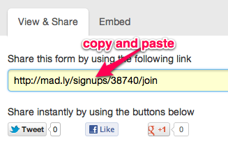 Webform Share Link