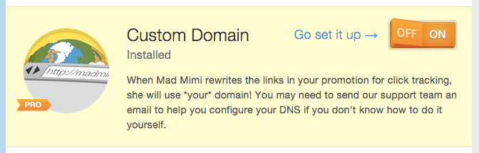 turning on Custom Domain add-on in Mad Mimi