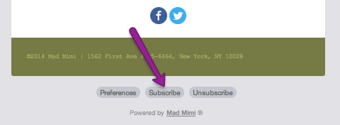 mad mimi subscribe button at bottom of email