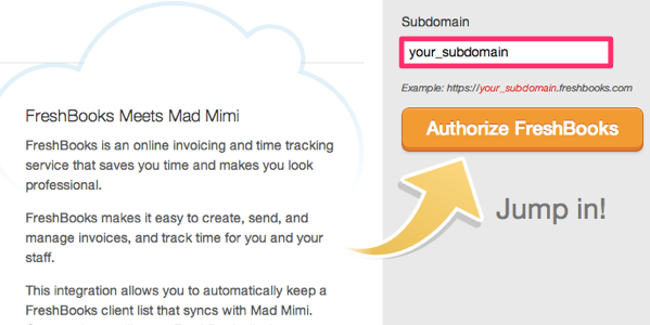 freshbooks email marketing integration, enter subdomain and authorize