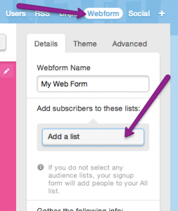 how to add a list to your web form