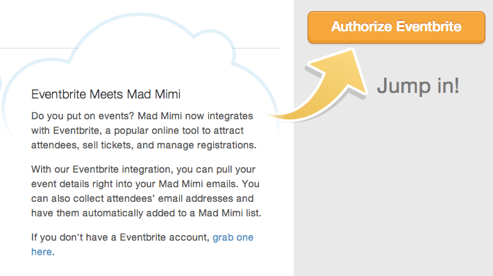 authorize eventbrite account to connect with Mad Mimi