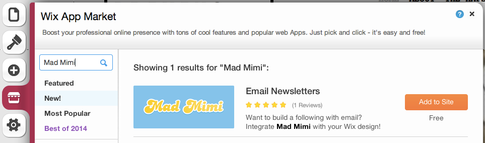 clicking App Market and searching Mad Mimi to find the Wix Email Newsletter App by Mad Mimi