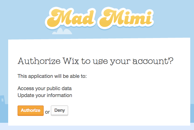 """Click """"Allow"""" to authorize Wix access to your Mad Mimi account to connect the two."""
