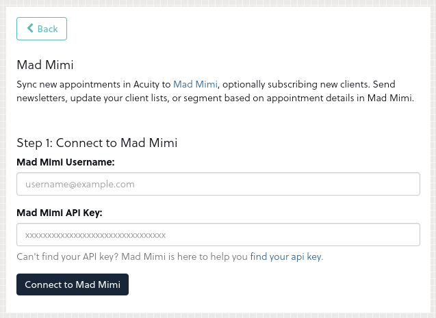 Acuity - Mad Mimi Integration 2
