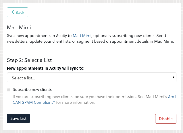 Acuity - Mad Mimi Integration 3
