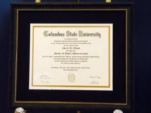 Framed Columbus State Diploma