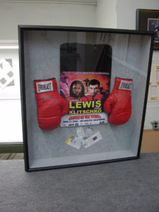 Framed Lennox Lewis Gloves