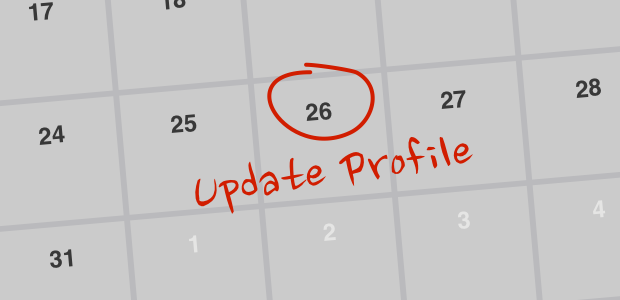 Calendar reminder: Update profile