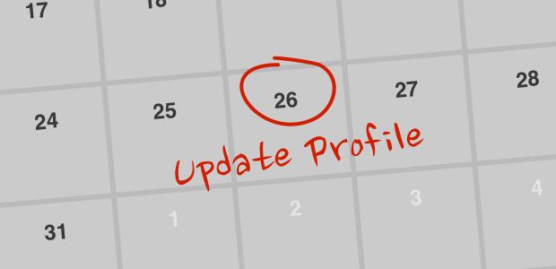 Calendar reminder: Update profile