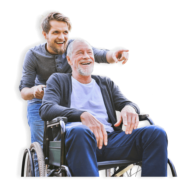 senior man on a wheelchair with a younger man
